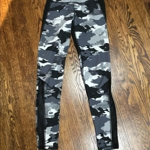 Black and White Camo Leggings with mesh Insert
